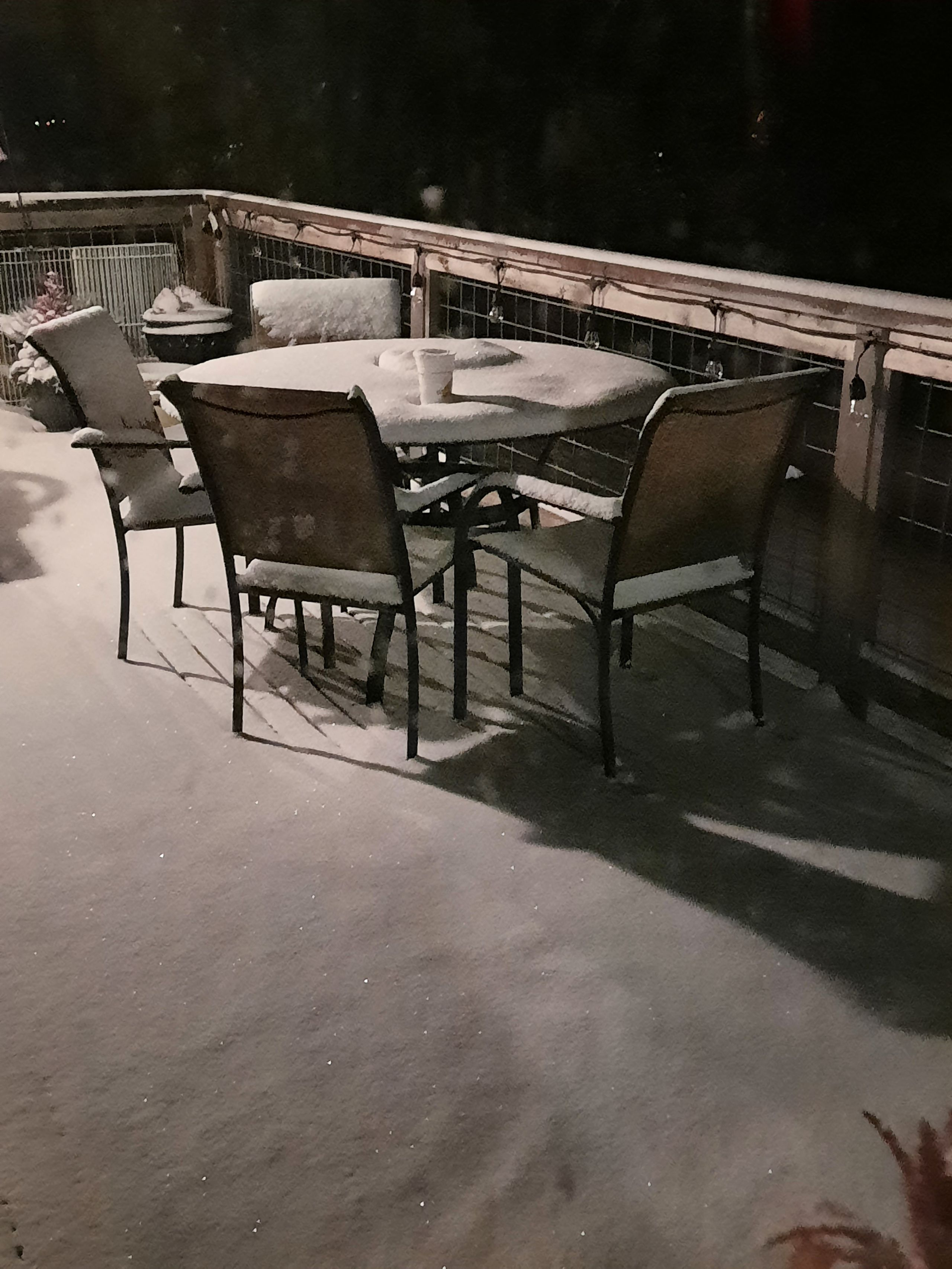 A couple inches of snow in Longbranch. Taken Thursday evening. (Image: TJ Smith / Chime In)