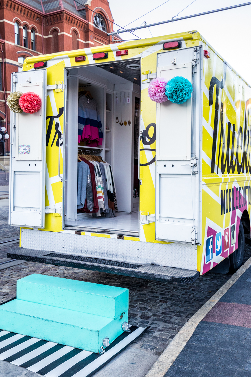 Truckshop is a mobile boutique—and the first of its kind in Ohio—that has been roaming around and setting up shop at events throughout the Tri-state for years. Owner Ashley Volbrecht got the idea in 2012 to open a mobile shop for women to find cute, well-priced clothes. She had originally wanted to open a brick and mortar shop, but thought setting up a boutique in portable fashion would be a unique experience for shoppers. She then bought a used Keebler delivery truck, gutted it, upcycled it into a full-service boutique, and hit the road. / Image: Catherine Viox // Published: 11.16.20