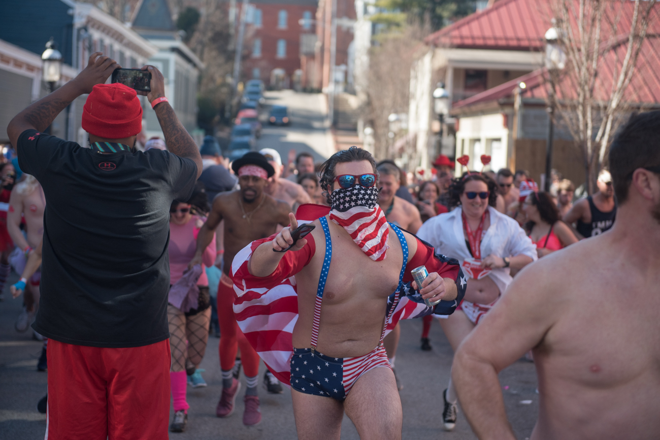 The Cupid's Undie Run took place on Saturday, February 9 in Mt. Adams. The one-mile run in your underwear is a fundraiser for Neurofibromatosis (NF) research, a rare genetic disorder which causes tumors to grow in the nervous system. The Undie Run takes place in locations all over the country. / Image: Mike Menke // Published: 2.10.19