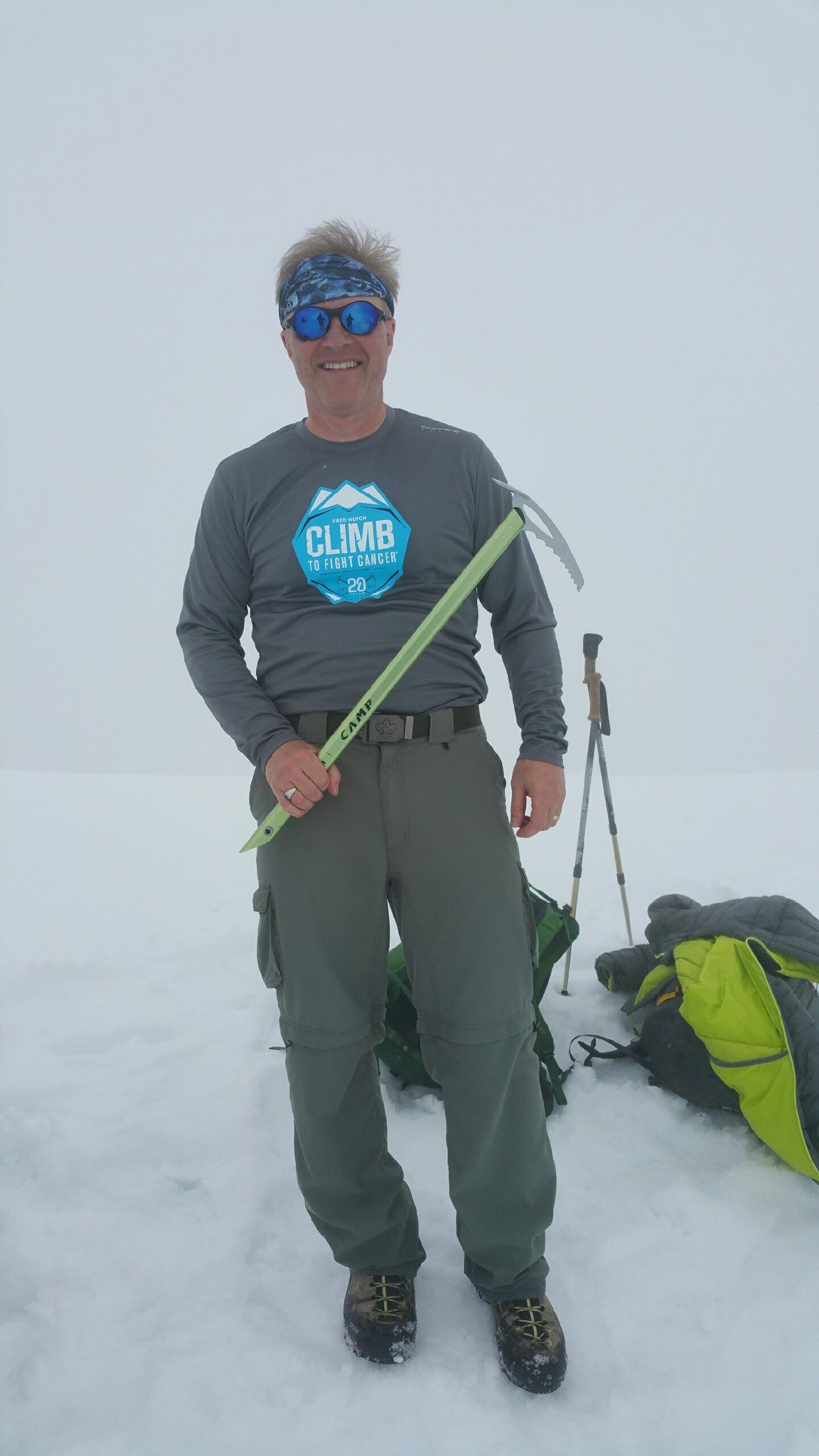 "KVI's John Carlson summited Mt. St. Helens on June 12, 2017 during his annual fundraiser with ""The Climb To Fight"" for Fred Hutch. (photo credit: John Carlson)"