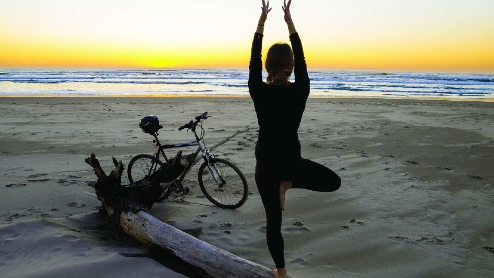Yoga can take place anytime when inspired by Manzanita's beach.jpg