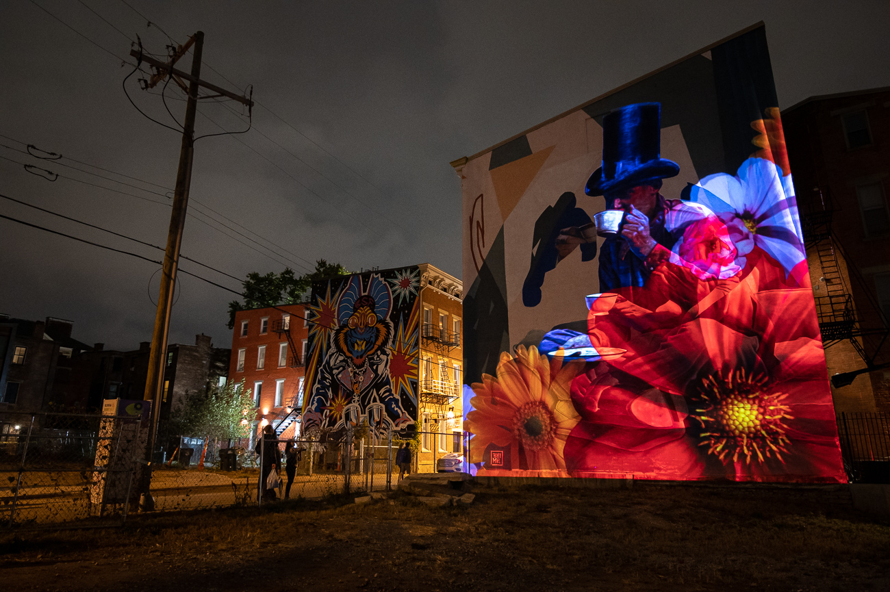 PICTURED NEIGHBORHOOD: Over-the-Rhine / At least one mural on Pleasant Street was animated this year. / Image: Phil Armstrong // Published: 10.12.19