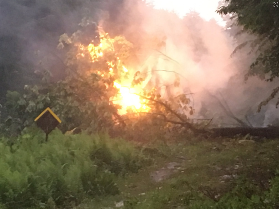 Downed power lines started a small fire on Pond Road in Bridgton (WGME)