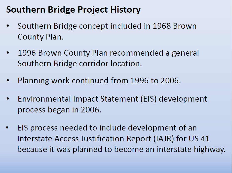 Brown County Southern Bridge Proposal--history<p></p>