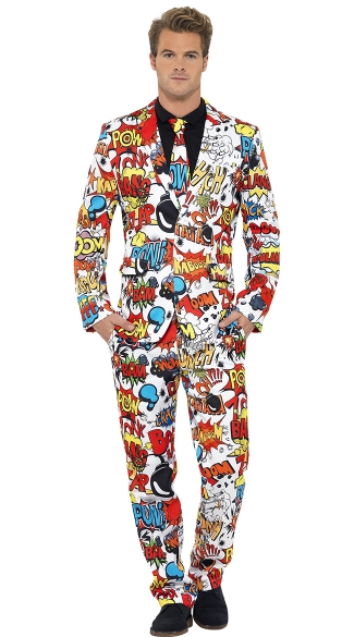 Kaboom! This comic suit costume features a button-up jacket, tie and pants that make a statement with graphic art. (Image: Yandys.com)