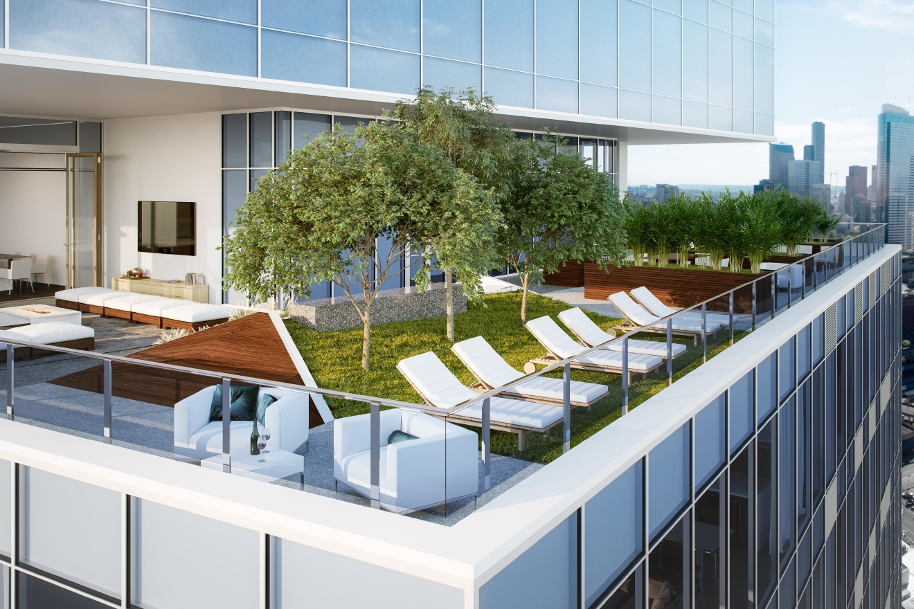 "Common spaces like this rooftop deck will expand the boundaries of ""condo living"" for NEXUS residents."