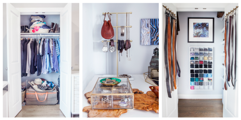 Since Ashley worked with Closet Factory to turn an extra bedroom into her own dressing room, she had two closets up for grabs in the master bedroom that she decided to turn into a mini walk-in closet for her husband. See the full post here: http://bit.ly/2CJZfap (Image: Ashley Hafstead)<p></p>