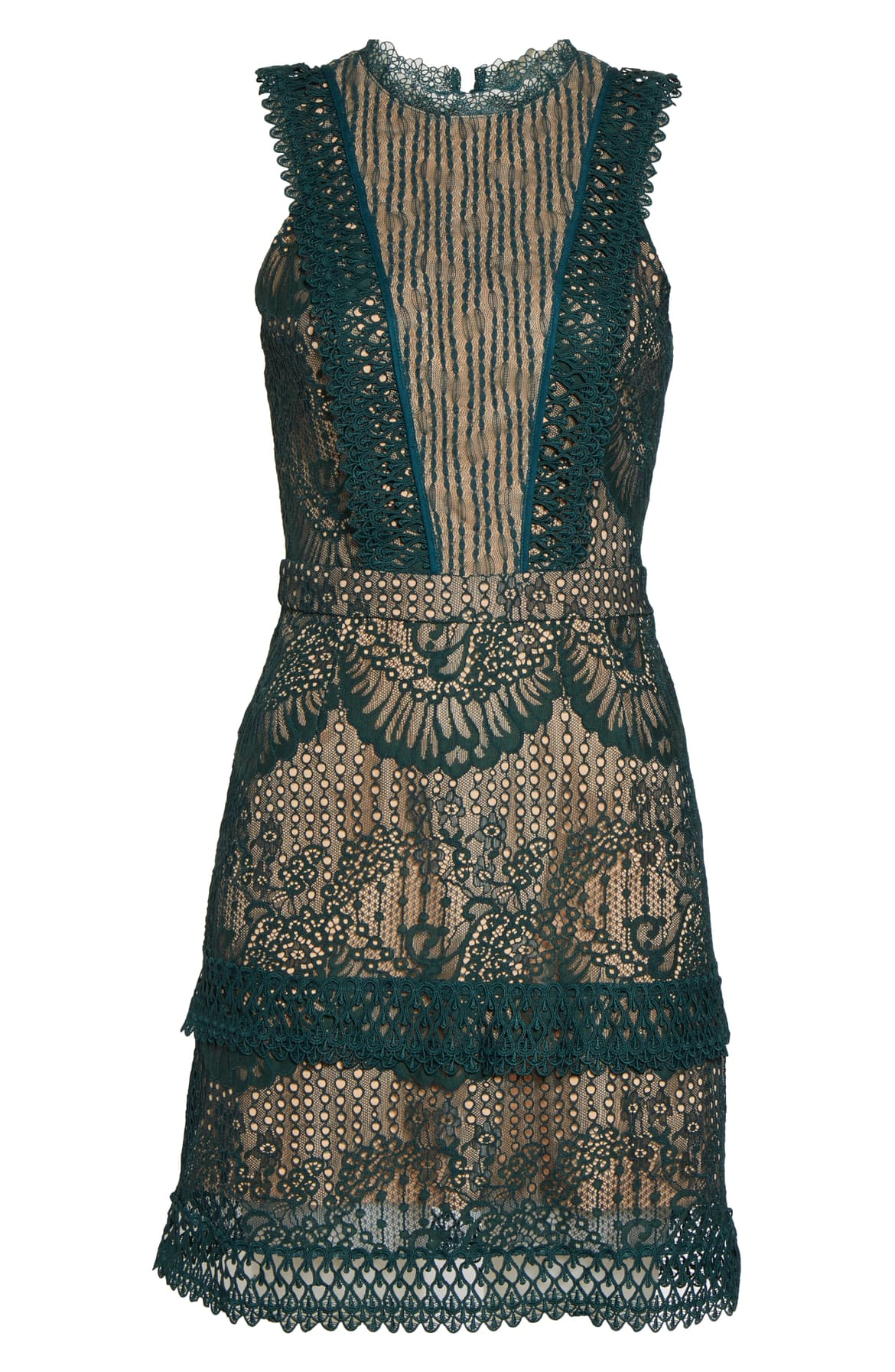 Intricate lacework highlighted by a contrast lining softens and sharpens the look of this sleeveless minidress finished with guipure trim. $115 -{ }Shop the Look{ }(Image: Nordstrom){ }