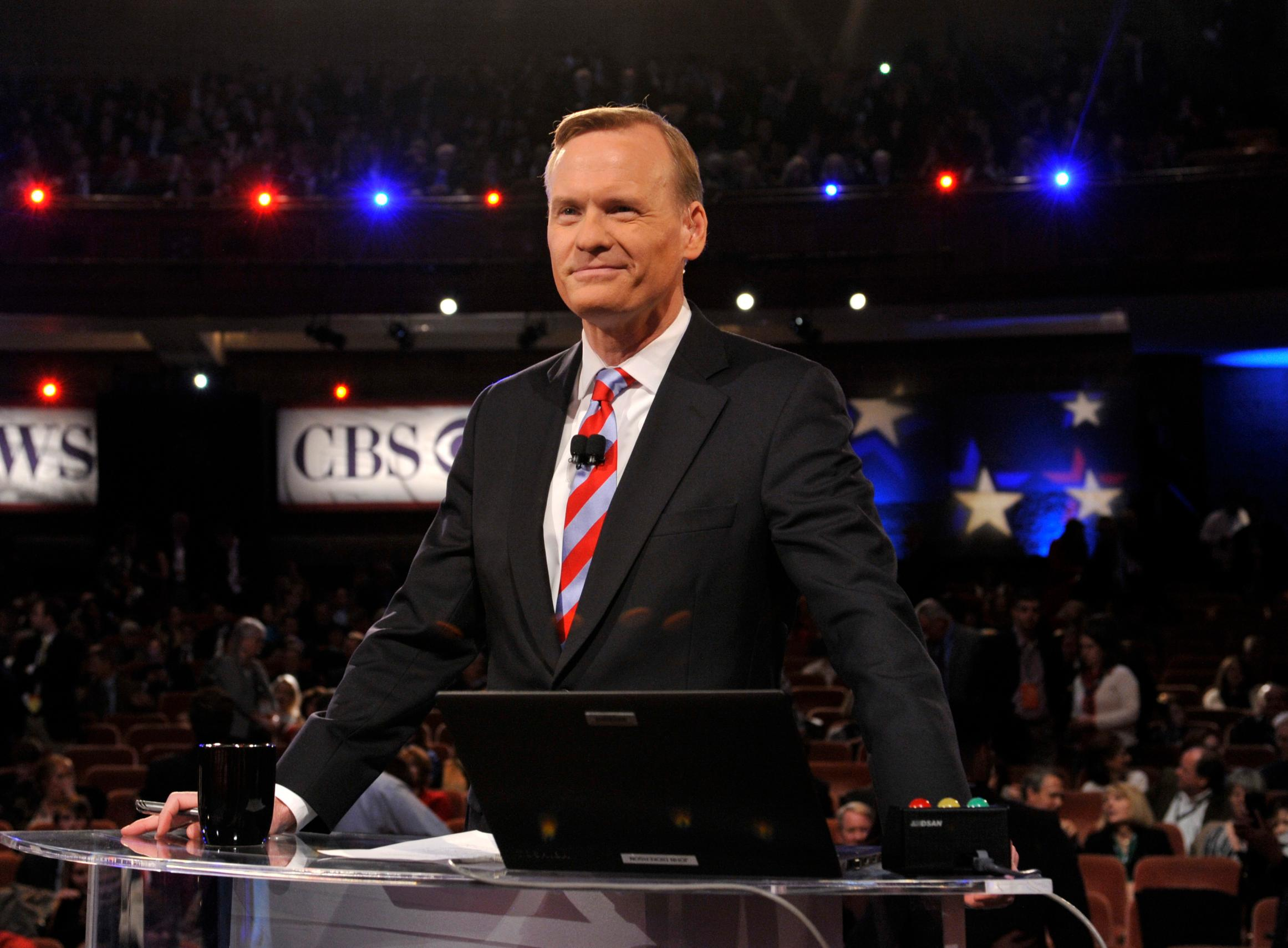 "In this Feb. 13, 2016, photo released by CBS, ""Face the Nation"" host John Dickerson moderates the CBS News Republican Presidential Debate in Greenville, S.C. (Chris Usher/CBS via AP)"