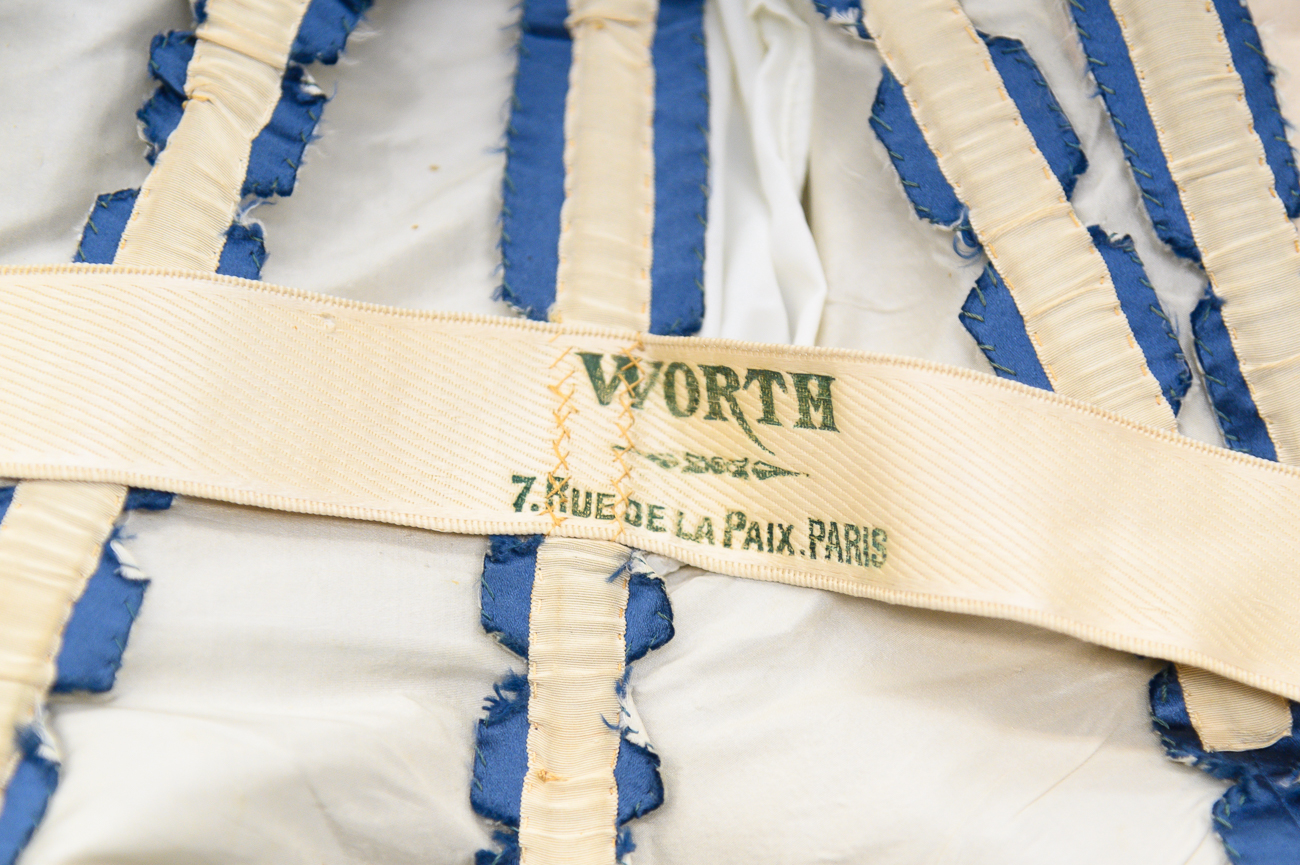 The dress was made by Charles Frederick Worth in Paris. His signature is emblazoned on an inner strap of the day bodice. / Image: Phil Armstrong, Cincinnati Refined // Published: 2.18.20
