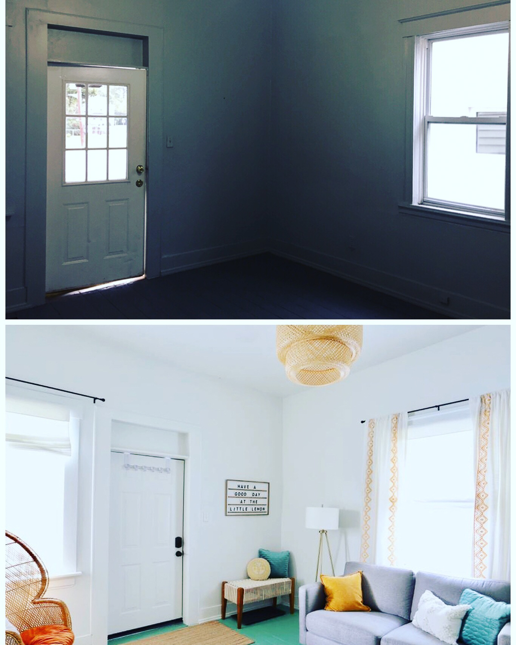 Before/after of the living room and front door / Image courtesy of Nicole Nichols // Published: 1.8.19