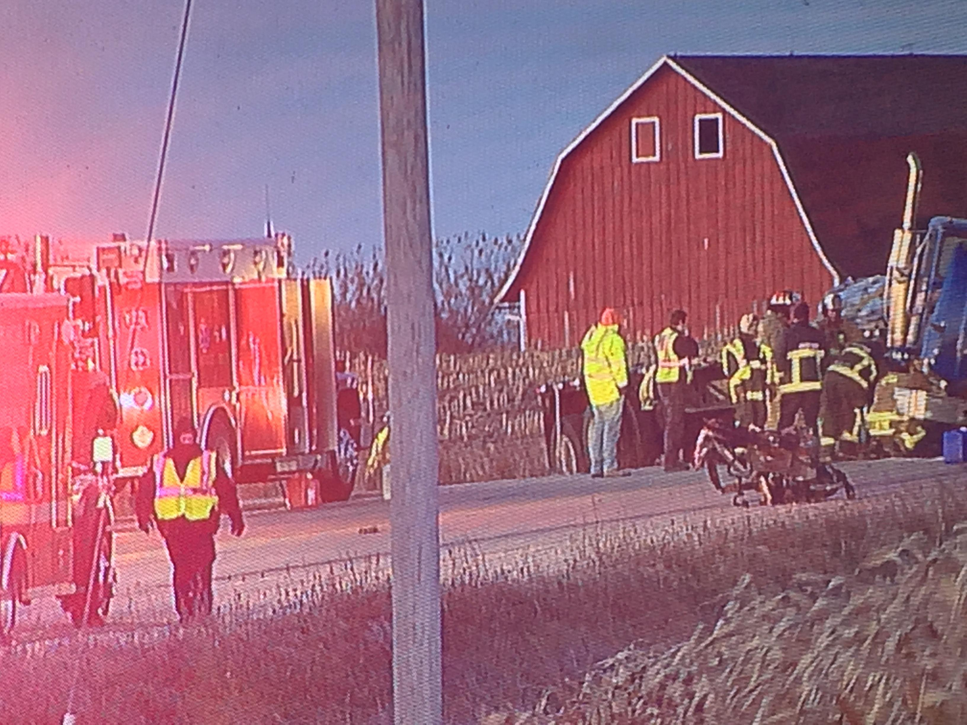 First responders at a traffic crash on Highway 44 near FF in Winnebago County on Friday,{&amp;nbsp;} November 10, 2017. (WLUK/Mike Moon)<p></p>