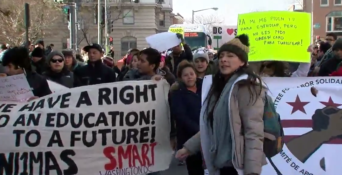 Day Without Immigrants protesters march through D.C. to White House (Photo: ABC7)