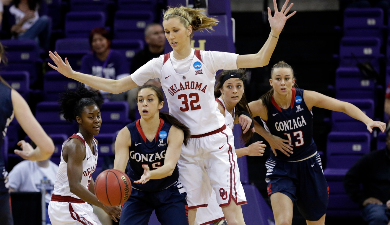 Oklahoma's Nancy Mulkey (32), a 6-9 center, defends as Gonzaga's Jessie Loera, a 5-6 guard, looks for room to pass during the first half of a first-round game in the NCAA women's college basketball tournament Saturday, March 18, 2017, in Seattle. (AP Photo/Elaine Thompson)