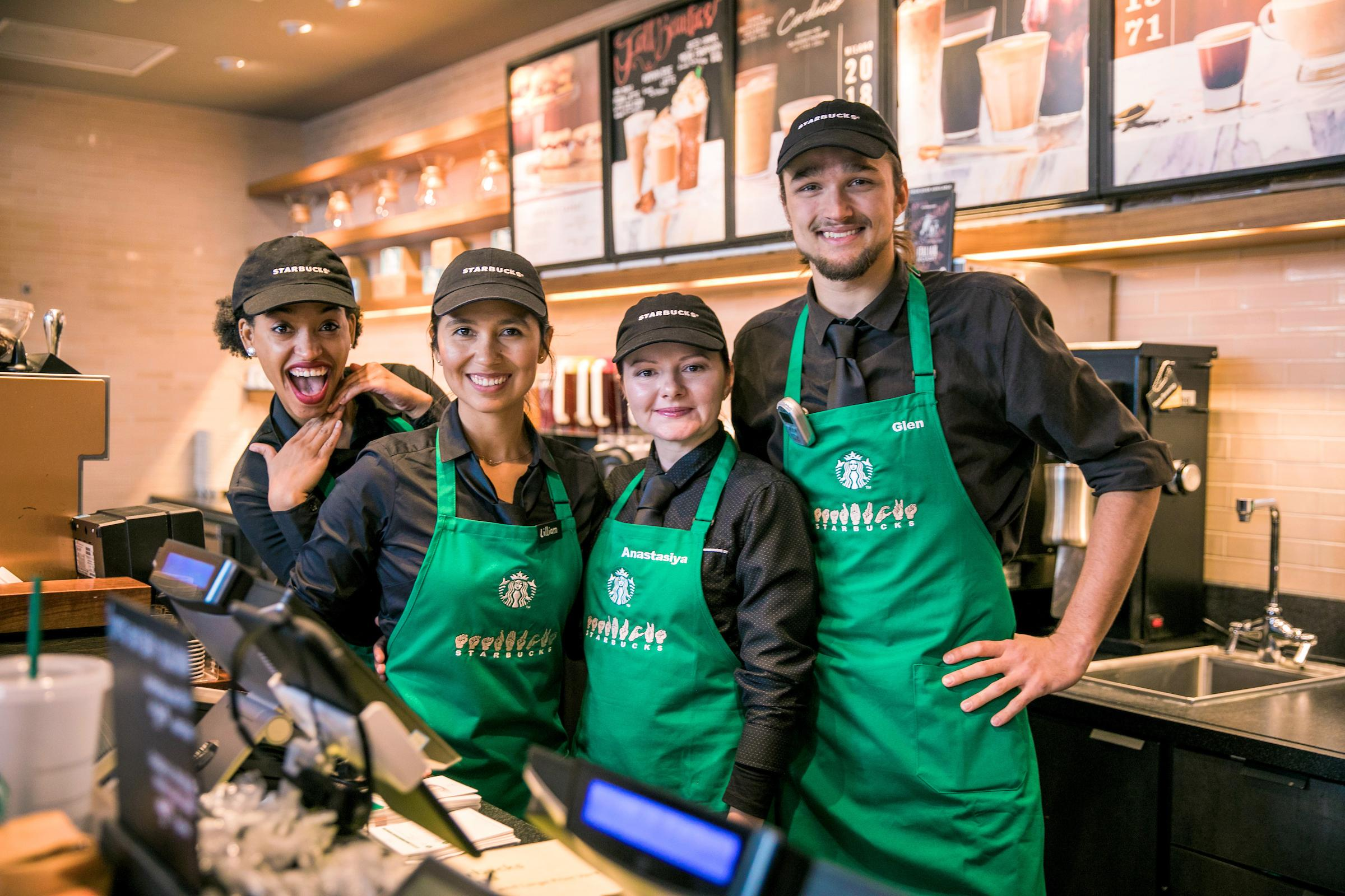 Everyone at the store is Deaf, hard of hearing or able to speak sign language.{ }{ }(Image: Joshua Trujillo, Starbucks)