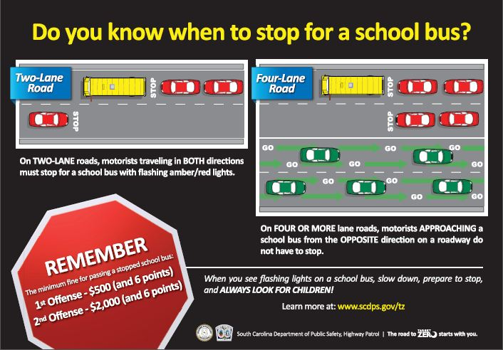 According to SC Highway Patrol, motorists traveling in both directions on two-lane roads must stop for school buses with flashing amber/red lights, while motorists on a  roadway of four or more lanes need only stop when approaching a school bus from the same direction. (Photo: South Carolina Department of Public Safety, Highway Patrol)