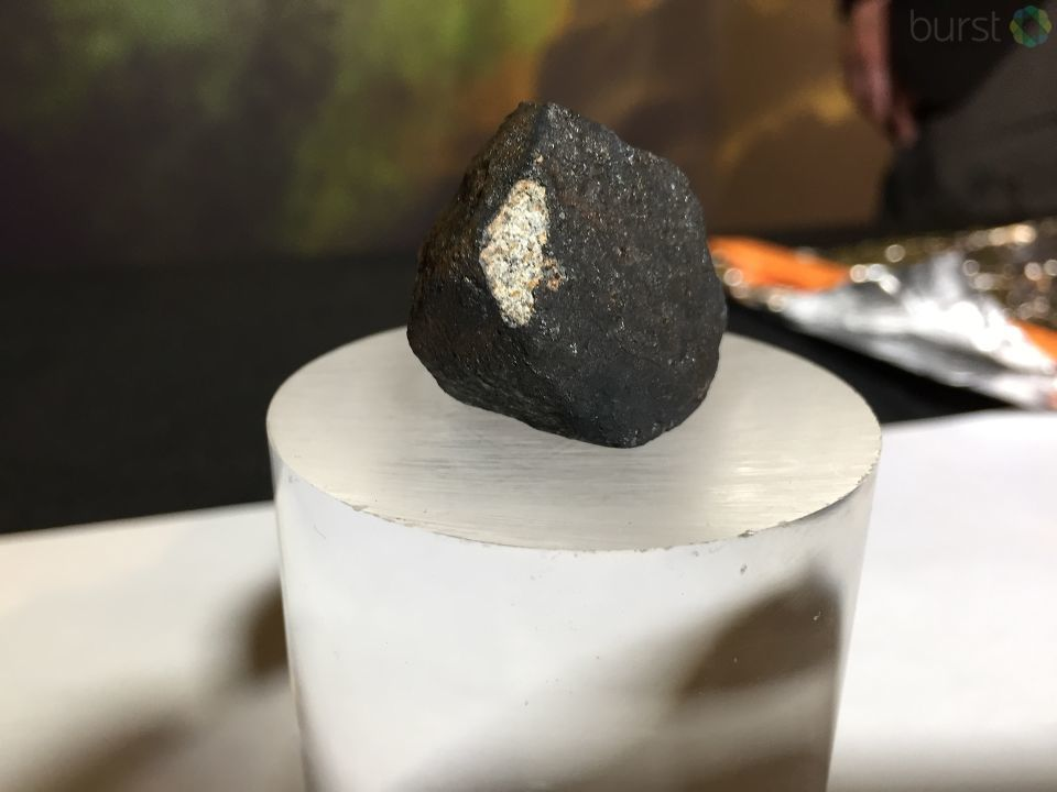 Three meteorites are on display Friday at Longway Planetarium in Flint. (Photo Credit: Ian Wood)