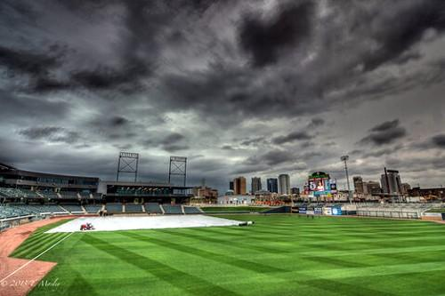 Storms delayed the start of the Birmingham Barons game with the Mississippi Braves Thursday night at Regions Field.