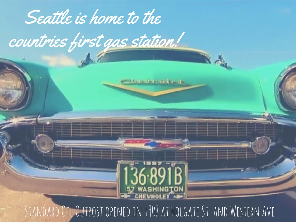 Fact #10. Ahead of the Times  The first gas station to ever open in the United States was located here in Seattle! The Standard Oil Outpost opened in 1907 at Holgate St. and Western Ave., according to Mental Floss. (Image: John Prentice / Seattle Refined).
