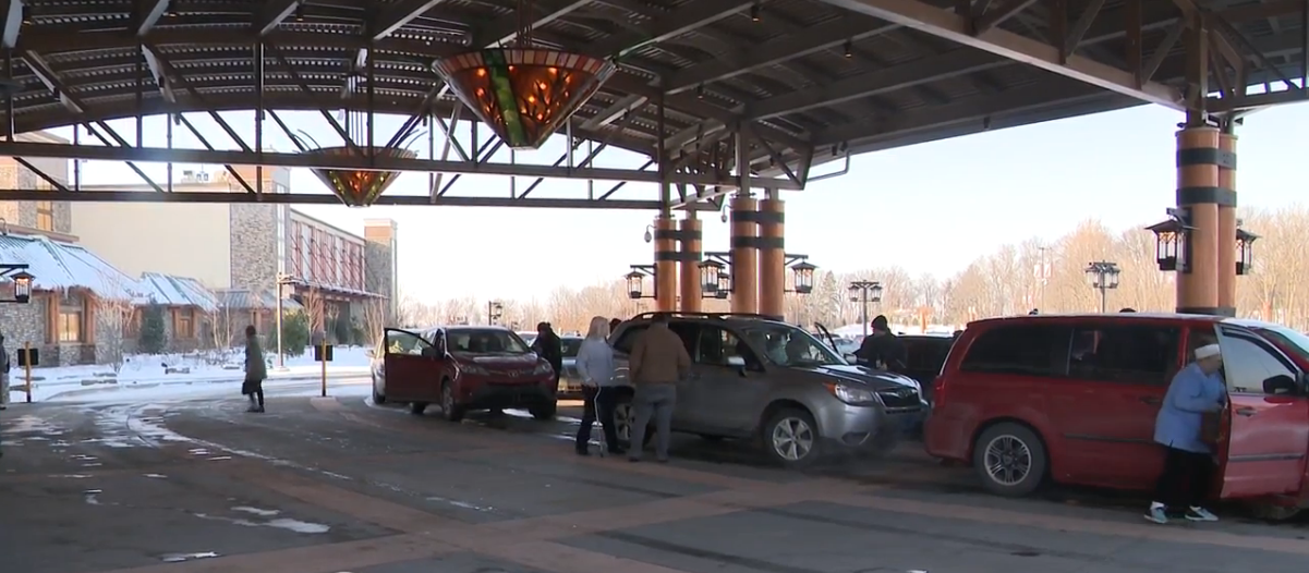 Congested traffic surrounds South Bend casino on opening day. // WSBT 22