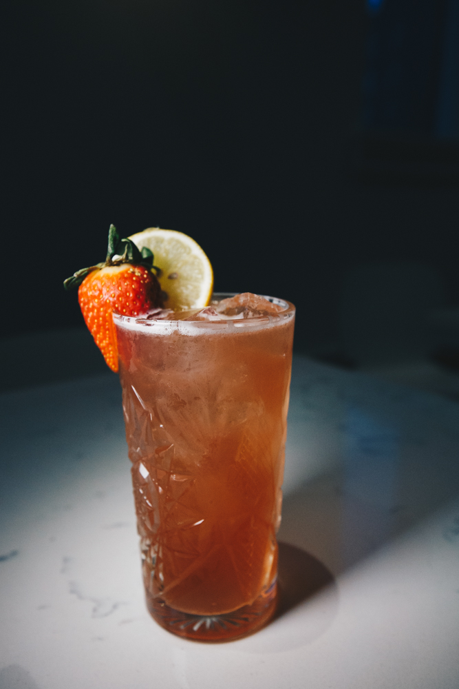 Hey, Pink!: Three Olives Rose Vodka, Platform's Rosellini Ale, lemon and lime with a strawberry and lemon / Image: Catherine Viox // Published: 3.5.19