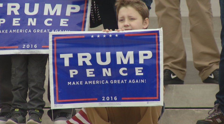 In Jefferson City, around 100 people gathered on the steps of the Capitol to hear and rally for President Trump, expressing what he has accomplished in his first year. (Megan Sanchez/KRCG 13){&amp;nbsp;}<p></p>