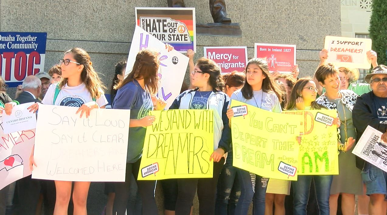 DACA supporters rally outside of State Capitol Tuesday afternoon (NTV News)