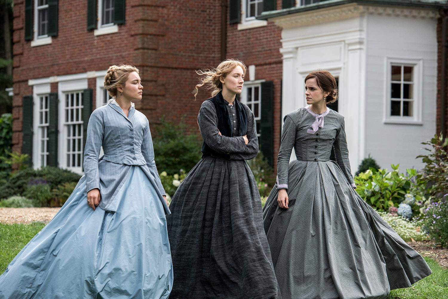 Florence Pugh, Saoirse Ronan and Emma Watson in Greta Gerwig's LITTLE WOMEN.{ }(Image: Wilson Webb / Sony Pictures)