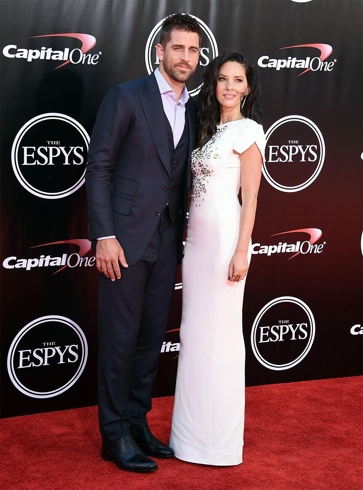 NFL football player Aaron Rodgers, of the Green Bay Packers, left, and Olivia Munn arrive at the ESPY Awards at the Microsoft Theater on Wednesday, July 13, 2016, in Los Angeles. (Photo by Jordan Strauss/Invision/AP)