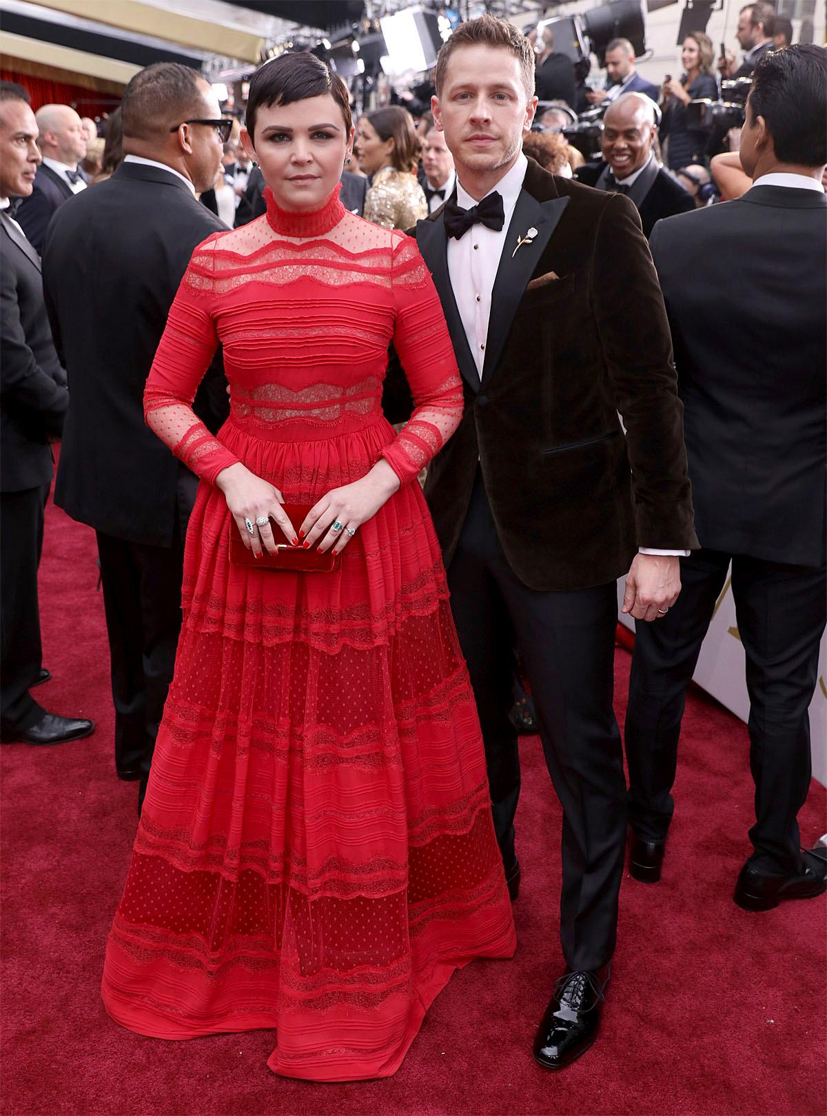 Ginnifer Goodwin, left, and Josh Dallas arrive at the Oscars on Sunday, Feb. 26, 2017, at the Dolby Theatre in Los Angeles. (Photo by Matt Sayles/Invision/AP)