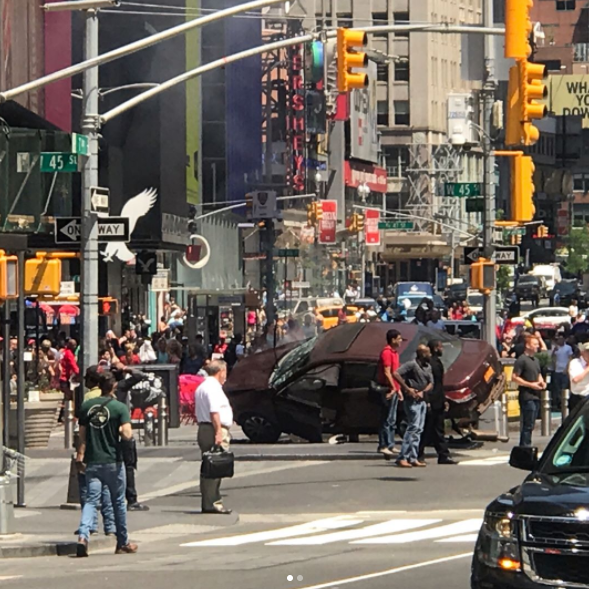 Vehicle speeds onto NYC's Times Square sidewalk, hitting people Thursday, May 18, 2017.   (Courtesy semiquasicelebritywannabe instagram)
