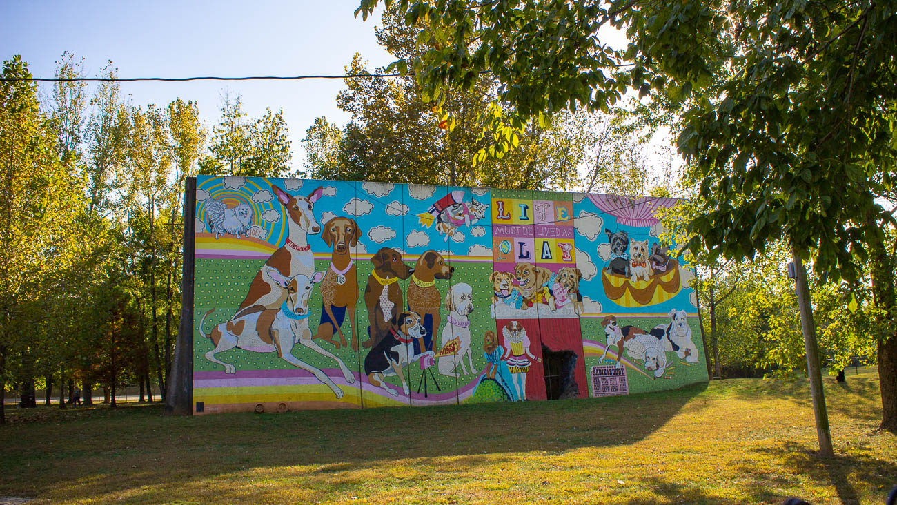 PLACE: Kellogg Park Dog Field / ADDRESS: 6701 Kellogg Road (Anderson Township) / This private dog field is four acres of fun for furry friends that sits in the back of Kellogg Park. Dogs can romp around the area, which is known for having a vibrant dog mural created by artists at ArtWorks that overlooks the grounds. Dogs can drink from a frost-free water fountain, too, since the park is open every day of the year. A membership permit is required to enter the space. Anderson Township dogs cost $30 for one and $20 for additional dogs annually. Annual memberships for pups who aren't residents cost $45 followed by $30 for any additional dogs. Permits can be purchased online at AndersonParks.com. / HOURS: Daily from dusk to dawn / Image: Katie Robinson, Cincinnati Refined // Published: 10.18.19