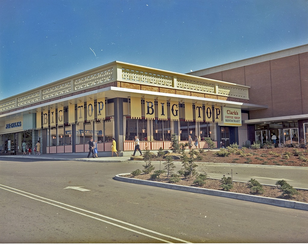 Clark's was located at Northgate Mall. Northgate still stands, but in Clark's place is a Blue Fin Sushi! (Image: Seattle Municipal Archives / flickr)