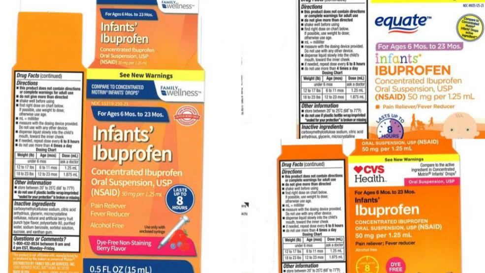 Recall of infant ibuprofen sold at CVS, Walmart, Family