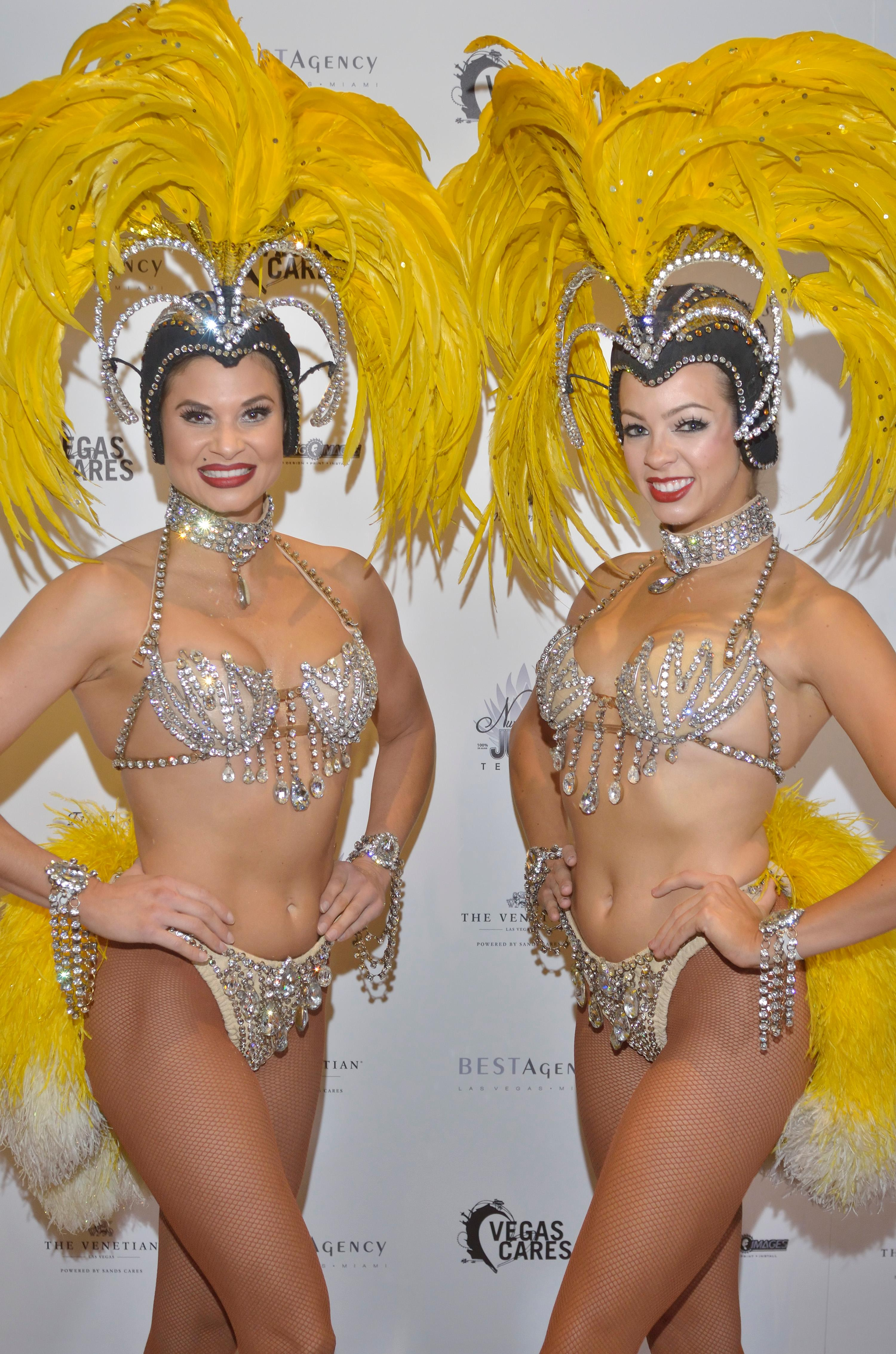 "Showgirls Dani Flahuie, left, and Stephanie Bell are shown at the ""Vegas Cares"" benefit concert at the Venetian Theatre in the Venetian hotel-casino at 3355 S. Las Vegas Blvd in Las Vegas on Sunday, Nov 5, 2017. The concert was sponsored by a group of Las Vegas entertainers, producers and business professionals to honor the victims and first responders from shooting at the Route 91 Harvest festival. (Photo/Las Vegas News Bureau/Bill Hughes)"