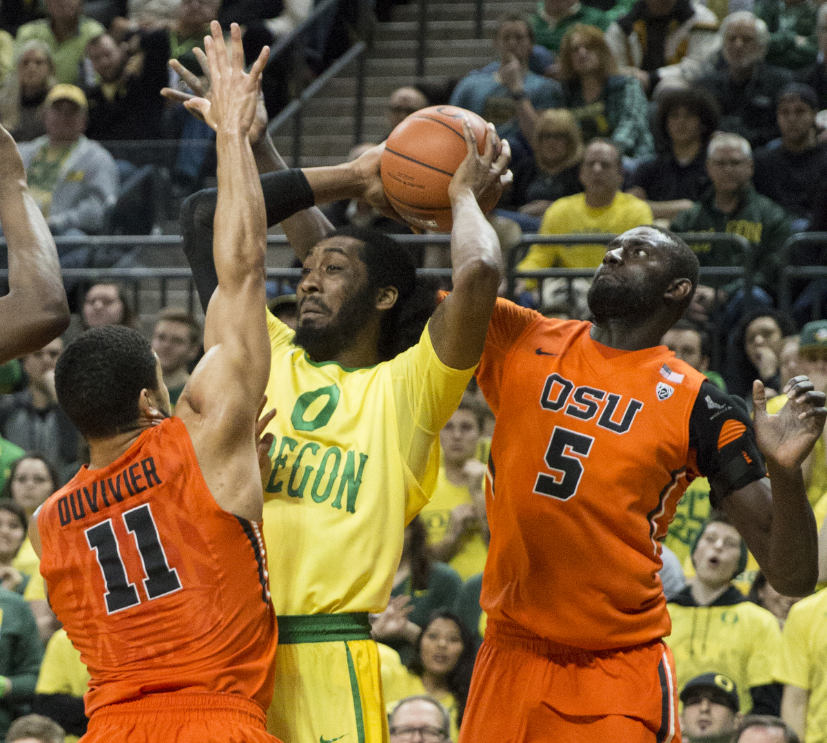 Oregon State's Cheikh N'diane (5) looks to swat the ball away from Oregon's Dwayne Benjamin (0) as he gets defensive help from Malcolm Duvivier (11). After opening up a huge lead in the first half, the Ducks breezed to a 91-81 win over Oregon State on Saturday night in front of a sold out crowd at Matthew Knight Arena. With the victory, the Ducks advance to 21-6 on the year and 9-4 in conference play. Eric Cech, Oregon News Lab