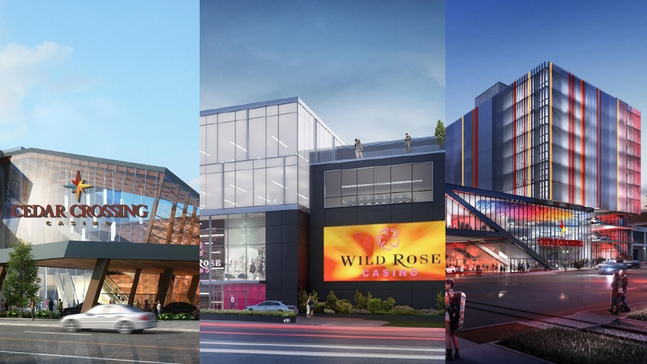 Renderings of Cedar Cross on the River (left), Wild Rose Cedar Rapids (middle), and Cedar Cross Central (right). All three are proposed casinos in Cedar Rapids. (renderings courtesy Cedar Rapids Development Group/Peninsula Pacific, Aspect Architecture and Design/Hunter Companies)