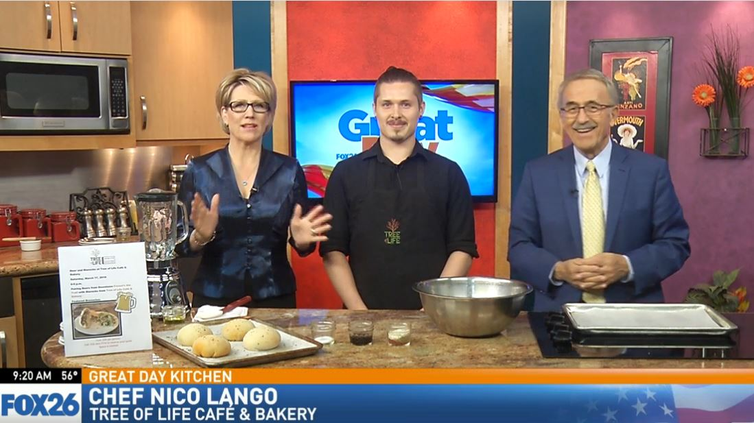 Chef Nico Lango making lentil sausage for vegan bierocks