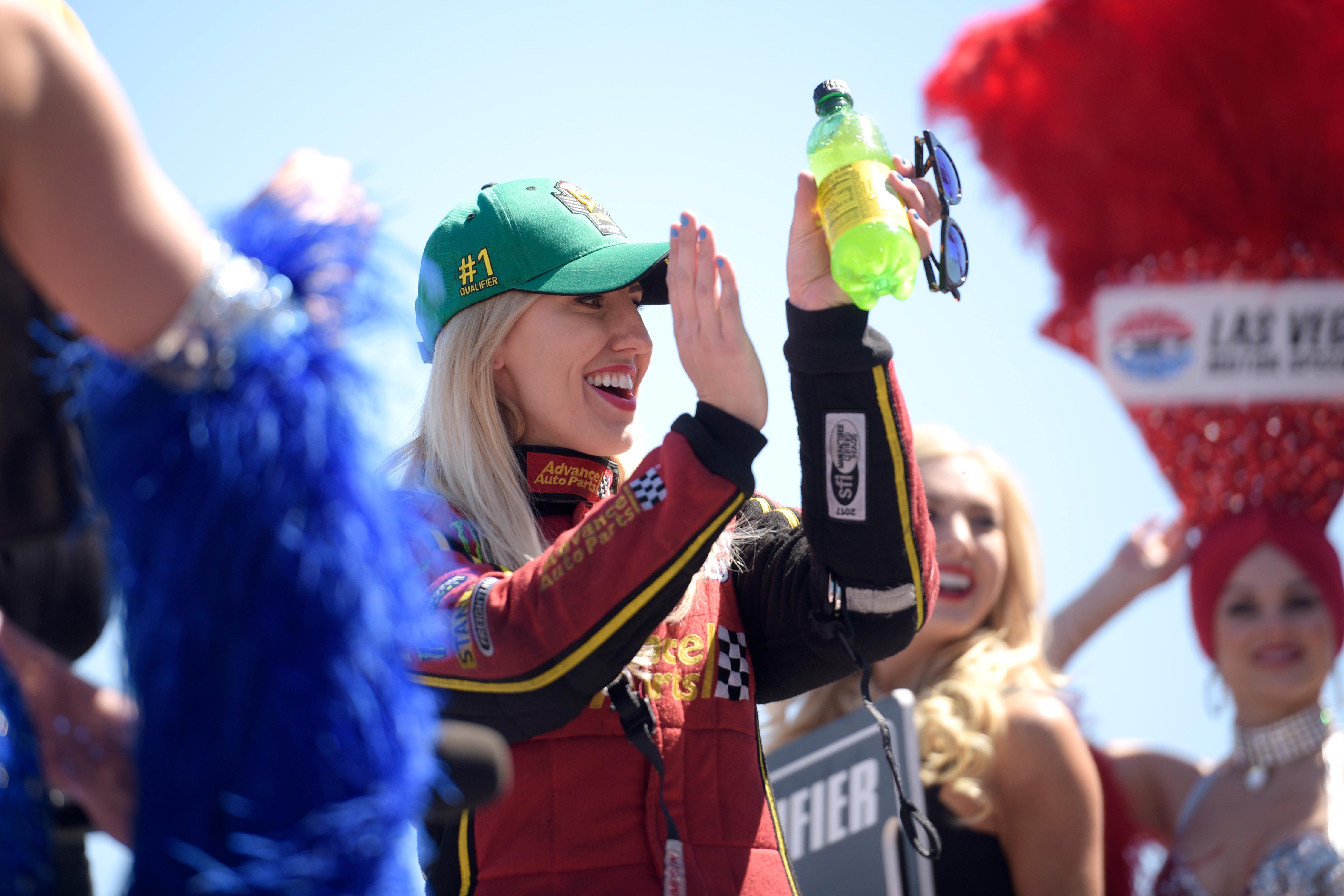 Funny Car top qualifier Courtney Force is introduced during the NHRA DENSO Spark Plug Nationals at The Strip at the Las Vegas Motor Speedway Sunday, April 2, 2017. (Sam Morris/Las Vegas News Bureau)