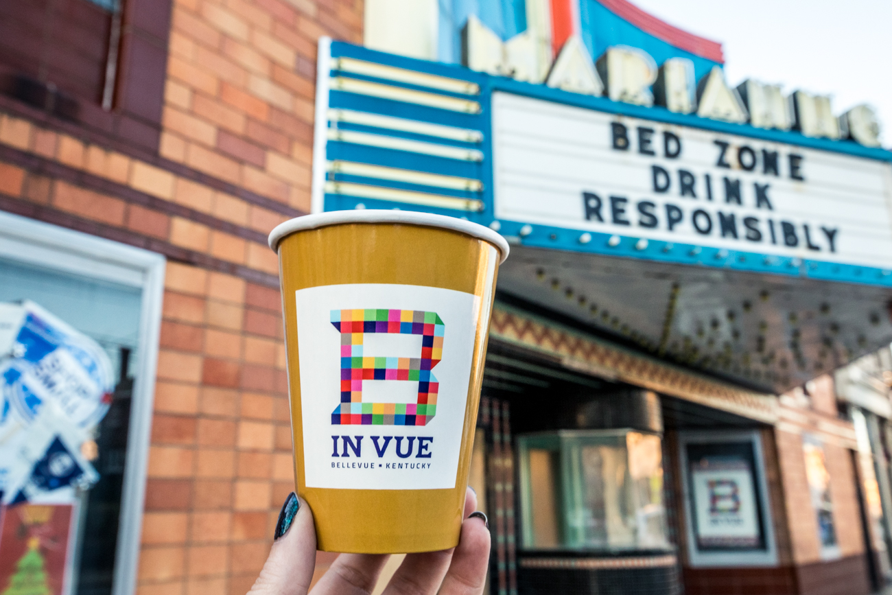 Nomad is within the Bellevue Entertainment District—a designated strip of Fairfield Avenue that allows people to walk between different Bellevue establishments with an alcoholic drink using a special cup (pictured). The name Nomad references the owners' love of traveling as well as the traffic of people they serve as being part of the Entertainment District. / Image: Catherine Viox // Published: 10.11.20