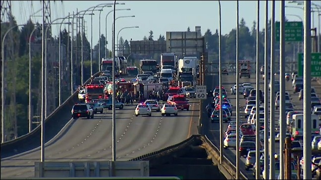 The I-5 Ship Canal Bridge in Seattle.{&nbsp;}(photo: KOMO News). <p><br></p>