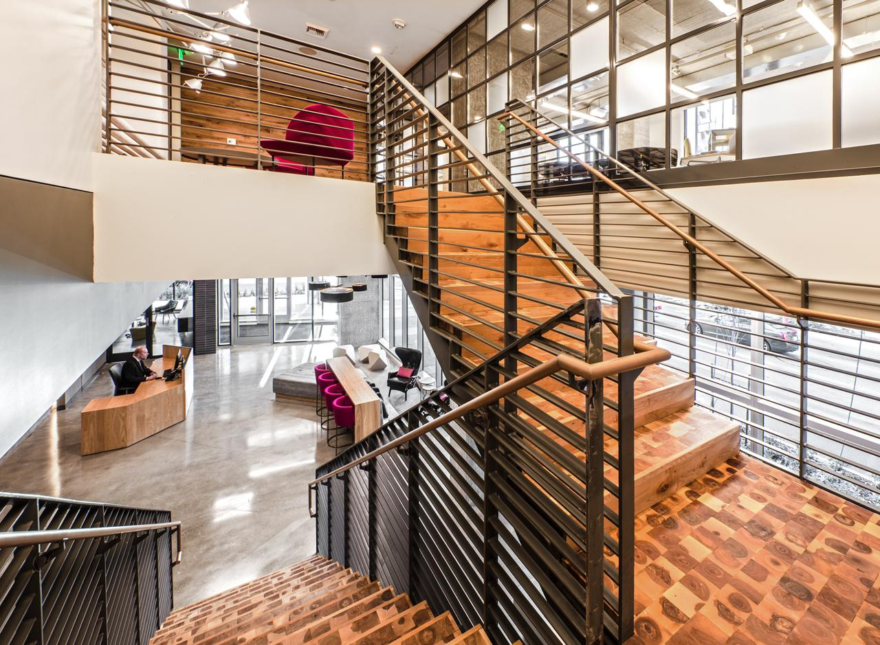 The lobby contains several seating areas for residents and guests.<p></p>