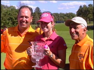 Paula Creamer won the 24th Jamie Farr Toledo Classic in 2008. She is pictured here with Jamie Farr (right).