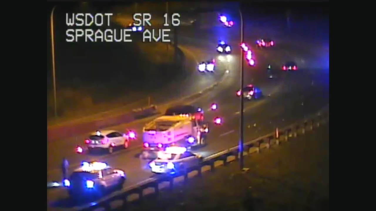 The State Patrol is advising drivers to check their tires if they drove on westbound State Route 16 and took the Sprague Avenue off ramp in Tacoma Tuesday night. (Photo: WSDOT Camera)