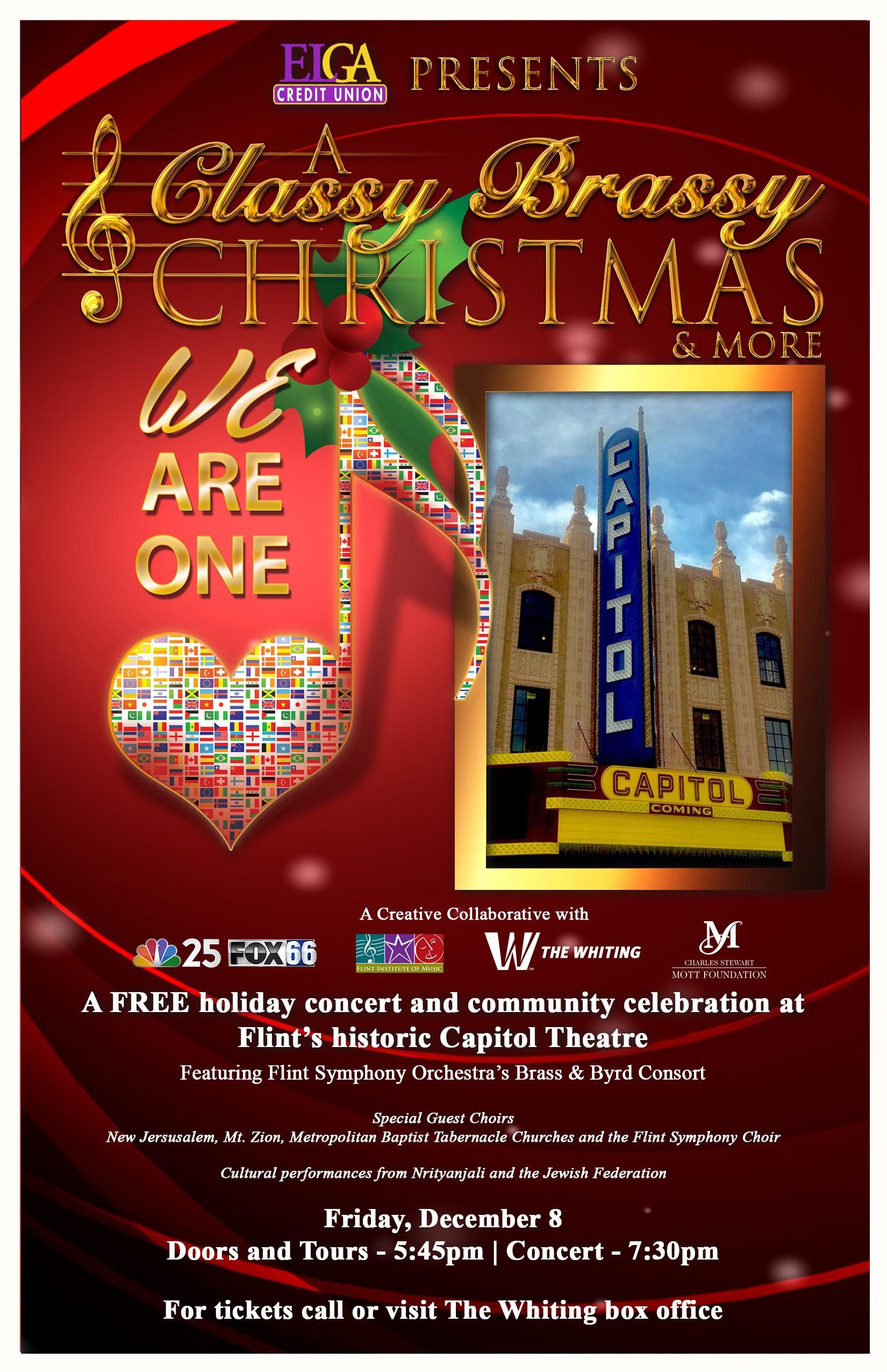 """A Classy Brassy Christmas & More: We Are One"" will take the stage at Flint's historic Capitol Theatre on Friday, December 8, 2017."