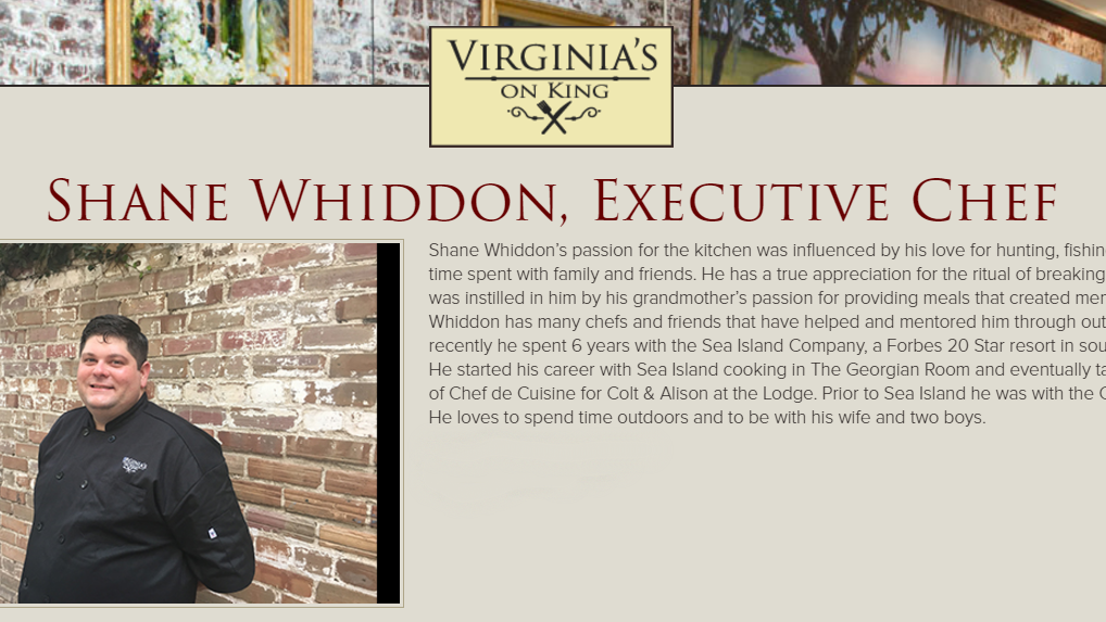 Shane Whiddon Executive Chef - Virginia's on King (HolyCityHospitality.com)