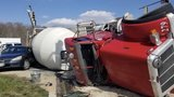 Cement truck overturns in Belcamp