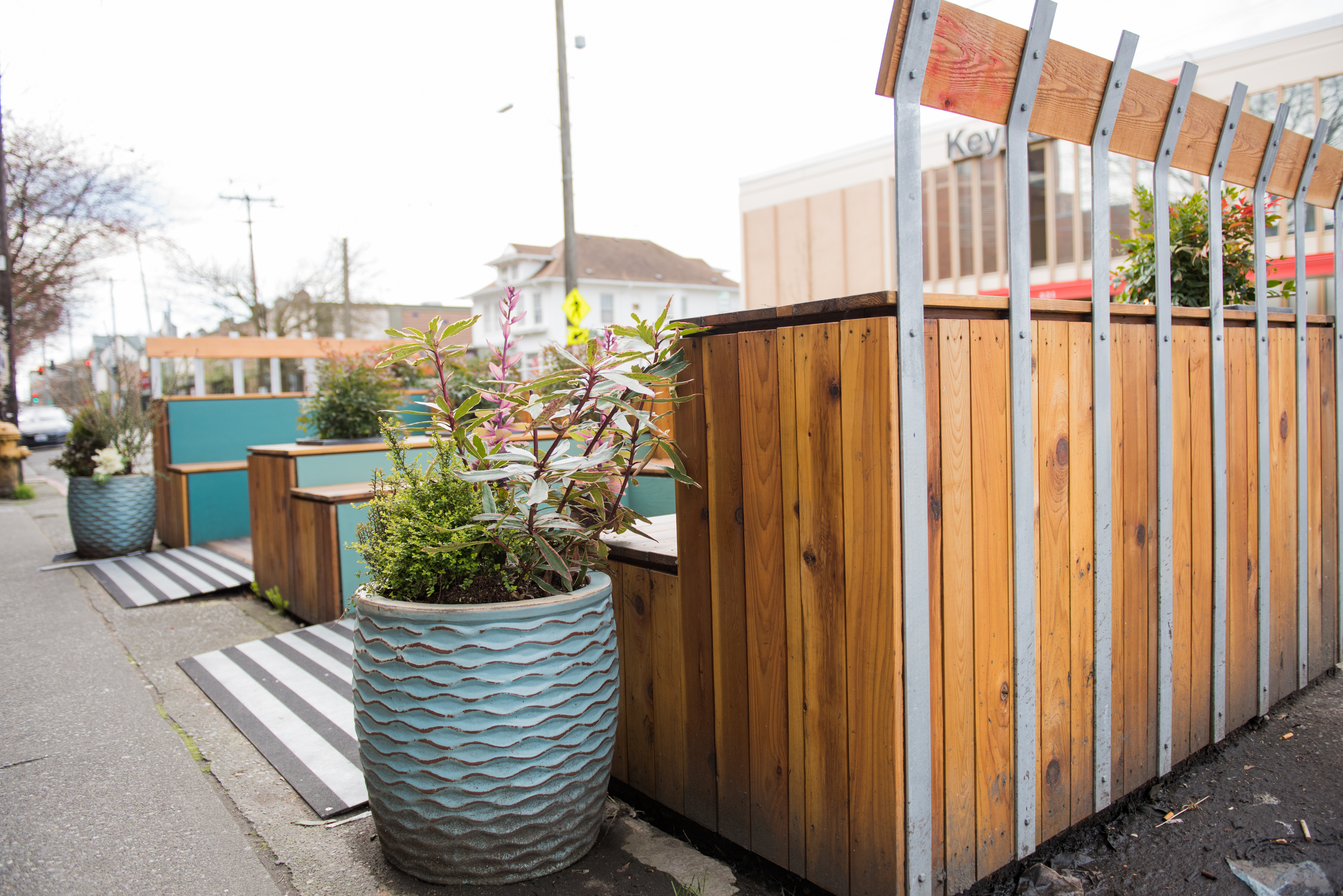 Sugar Plum Parklet: This parklet has us thinking of warmer days, sitting outside with a vegan confection and enjoying the sunshine and mingling with friends and passersby. (Image: Natalia Dotto)