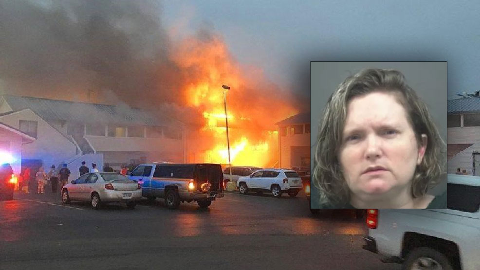 Newport motel fire photo by Dustin Capri courtesy NewsLincolnCounty.com -- Rebecca Sinclair mugshot via Lincoln County