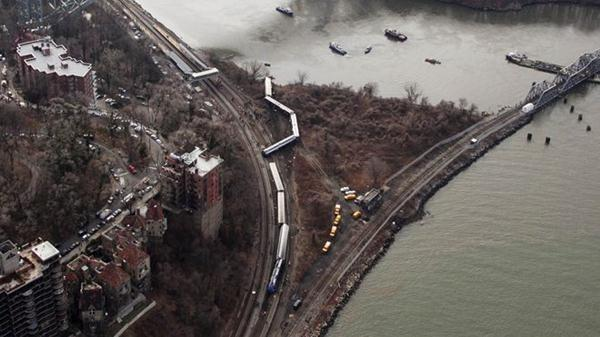 An aerial overview of the train derailment scene in the Bronx.